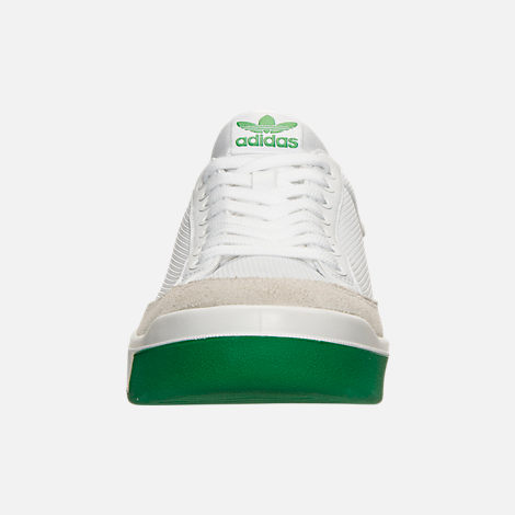 Front view of Men's adidas Originals Rod Laver Casual Shoes in White/White/Green