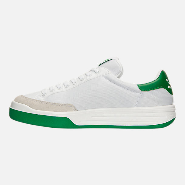 Left view of Men's adidas Originals Rod Laver Casual Shoes in White/White/Green
