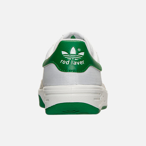 Back view of Men's adidas Originals Rod Laver Casual Shoes in White/White/Green