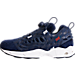 Left view of Men's Reebok x Hall of Fame Instapump Fury Casual Shoes in Collegiate Royal/College Navy/White