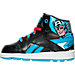 Left view of Boys' Toddler Reebok Classic Arena Pro Mid Casual Shoes in BLK