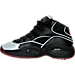 Left view of Boys' Grade School Reebok Question Mid Basketball Shoes in Black/Silver Met/Red