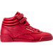 Right view of Girls' Preschool Reebok Freestyle Hi Casual Shoes in Excellent Red/Silver/Gold