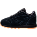 Left view of Boys' Toddler Reebok Classic Leather TDC Casual Shoes in Black/White