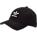 Front view of Women's adidas Originals Precurved Washed Strapback Hat in Black/White