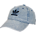 Front view of Women's adidas Originals Precurved Washed Strapback Hat in Washed Blue Denim