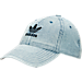 Front view of adidas Originals Precurved Washed Strapback Hat in Washed Blue Denim
