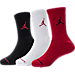 Front view of Kids' Jordan Crew Socks - 3 Pack in Black/White/Red