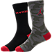 Front view of Kids' Jordan Camo Crew Socks - 2 Pack in Black/River Rock/Red