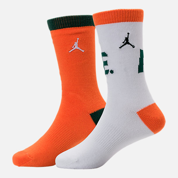 Front view of Kids' Jordan Like Mike 2-Pack Crew Socks in White/Safety Orange