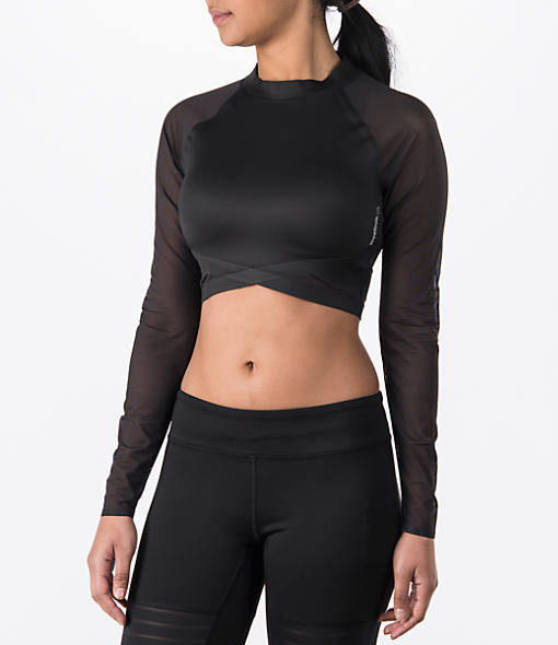 Women's Reebok Studio Cardio Long-Sleeve Crop Training Top
