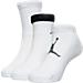 Front view of Kids' Jordan 3-Pack Waterfall Socks in White/Gym Red