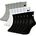 Front view of Kids' Nike 6-Pack Quarter Socks in Black/White/Grey