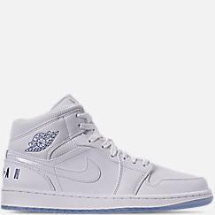 나이키 Nike Mens Air Jordan 1 Mid Premium Basketball Shoes,White/Concord White