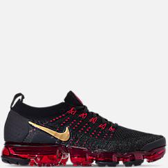 나이키 맨 Mens Nike Air VaporMax Flyknit 2 Chinese New Year Running Shoes,Black/Metallic Gold/University Red