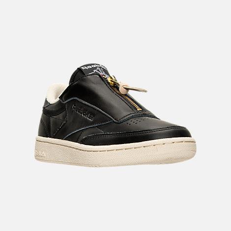 Three Quarter view of Women's Reebok Club C Zip Casual Shoes in Black/Sleek Metallic/Paper White