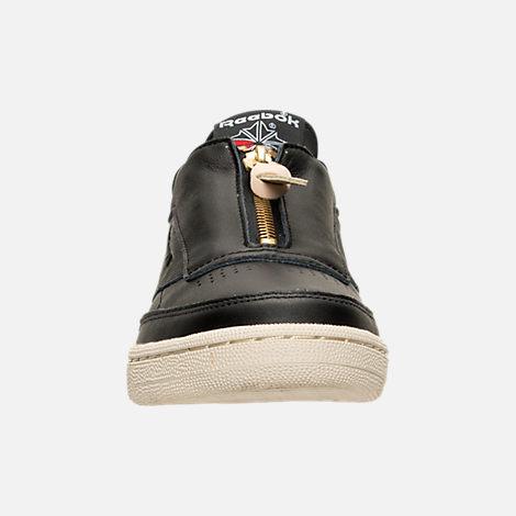 Front view of Women's Reebok Club C Zip Casual Shoes in Black/Sleek Metallic/Paper White