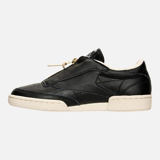 Left view of Women's Reebok Club C Zip Casual Shoes in Black/Sleek Metallic/Paper White