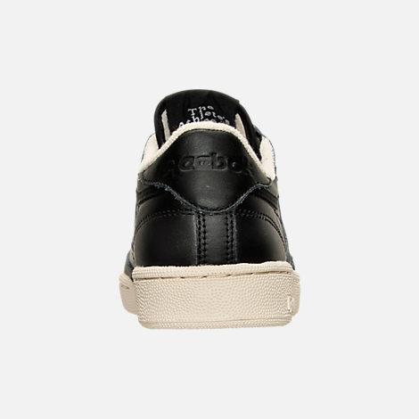 Back view of Women's Reebok Club C Zip Casual Shoes in Black/Sleek Metallic/Paper White