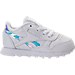 Right view of Girls' Toddler Reebok Classic Leather Casual Shoes in White/Iridescent