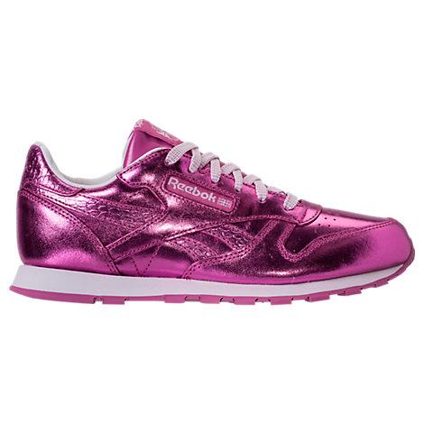 Girls' Preschool Reebok Classic Leather Metallic Casual Shoes