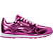 Right view of Girls' Preschool Reebok Classic Leather Metallic Casual Shoes in Charged Pink/White