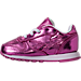Left view of Girls' Toddler Reebok Classic Leather Metallic Casual Shoes in Charged Pink/White