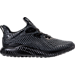 Right view of Boys' Grade School adidas AlphaBounce Running Shoes in Black/Black Print
