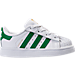 Right view of Kids' Toddler adidas Superstar Hook-and-Loop Closure Casual Shoes in White/Green/White