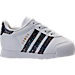 Right view of Girls' Toddler adidas Samoa Casual Shoes in White/Rainbow Snake