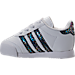 Left view of Girls' Toddler adidas Samoa Casual Shoes in White/Rainbow Snake