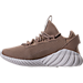 Left view of Boys' Grade School adidas Tubular Doom Sock Primeknit Casual Shoes in Sesame/Clear Brown