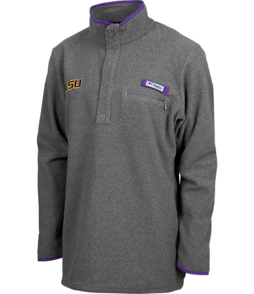 Men's Columbia LSU Tigers College Harborside Pullover Fleece