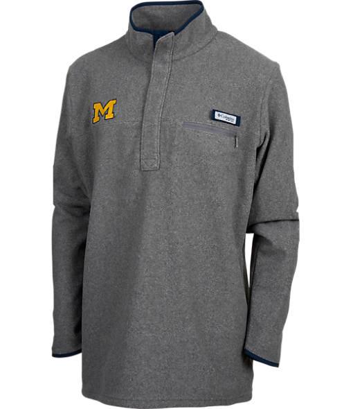 Men's Columbia Michigan Wolverines College Harborside Pullover Fleece