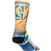 Back view of Men's For Bare Feet Golden State Warriors NBA Stephen Curry Hard Play Crew Socks in Team Colors