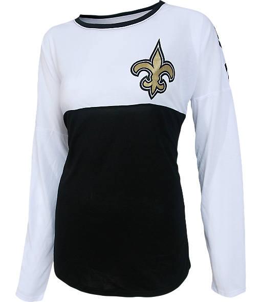 Women's College Concepts New Orleans Saints NFL Long-Sleeve Vortex T-Shirt