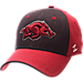 Front view of Zephyr Arkansas Razorbacks College Challenger Stretch Fit Hat in Team Colors/Heather