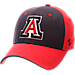 Front view of Zephyr Arizona Wildcats College Challenger Stretch Fit Hat in Team Colors/Heather