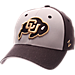 Front view of Zephyr Colorado Buffaloes College Challenger Stretch Fit Hat in Team Colors/Heather