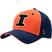 Front view of Zephyr Illinois Fighting Illini College Challenger Stretch Fit Hat in Team Colors/Heather
