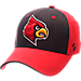 Front view of Zephyr Louisville Cardinals College Challenger Stretch Fit Hat in Team Colors/Heather