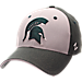 Front view of Zephyr Michigan State Spartans College Challenger Stretch Fit Hat in Team Colors/Heather