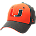 Front view of Zephyr Miami Hurricanes College Challenger Stretch Fit Hat in Team Colors/Heather