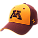 Front view of Zephyr Minnesota Vikings College Challenger Stretch Fit Hat in Team Colors/Heather