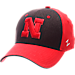 Front view of Zephyr Nebraska Cornhuskers College Challenger Stretch Fit Hat in Team Colors/Heather