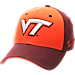 Front view of Zephyr Virginia Tech Hokies College Challenger Stretch Fit Hat in Team Colors/Heather
