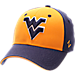 Front view of Zephyr West Virginia Mountaineers College Challenger Stretch Fit Hat in Team Colors/Heather