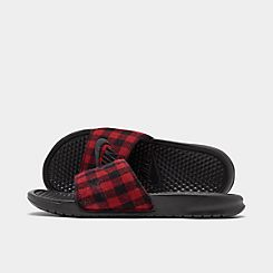 나이키 맨 베나시 JDI 슬리퍼 Mens Nike Benassi JDI SE Plaid Slide Sandals,Black/Black/University Red
