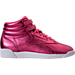 Right view of Women's Reebok Freestyle Hi Metallic Casual Shoes in Sharp Pink/White