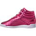 Left view of Women's Reebok Freestyle Hi Metallic Casual Shoes in Sharp Pink/White